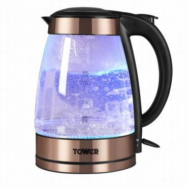 Tower T10021 Rapid Boil Illuminated Glass Jug Kettle Rose Gold