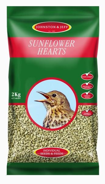 BIRD FEED SUNFLOWER HEARTS 2KG J&J