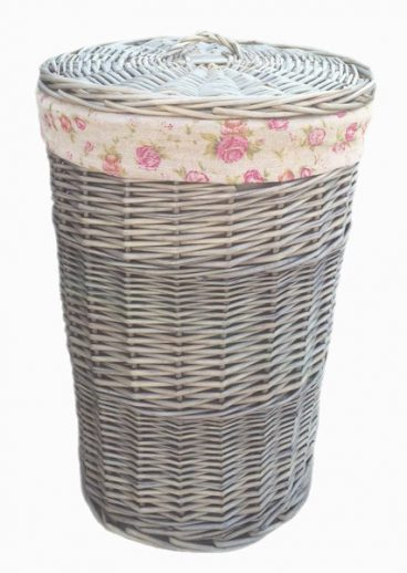 ANTIQUE LAUNDRY BASKET ROSE LINING SMALL