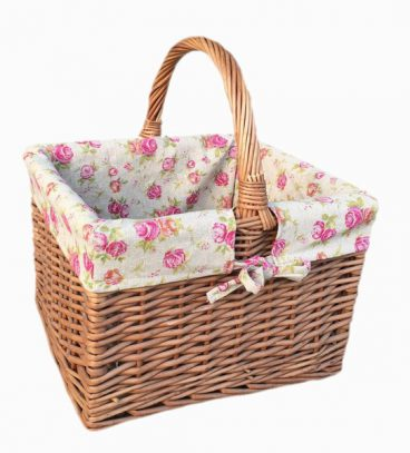 ANTIQUE SHOPPER/ BUTCHERS BASKET & ROSE  LINING