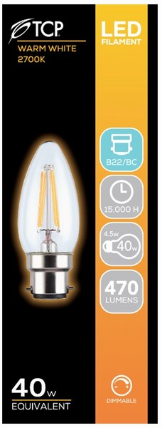 BULB LED CANDLE 4.5W (40W) BC CLEAR WARM DIMMABLE TCP
