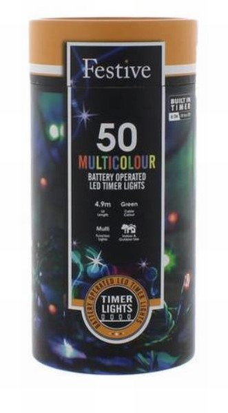 Battery Lights with Timer – 50 LED – Multicoloured
