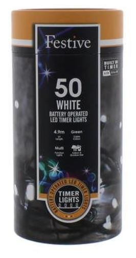 Battery Lights with Timer – 50 LED – Cold White