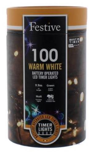 Battery Lights with Timer – 100 LED – Warm White