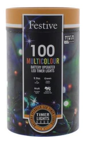 Battery Lights with Timer – 100 LED – Multicoloured