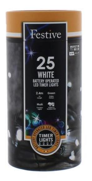 Battery Lights with Timer – 25 LED – Cold White