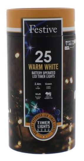 Battery Lights with Timer – 25 LED – Warm White