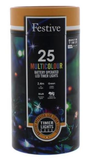 Battery Lights with Timer – 25 LED – Multicoloured