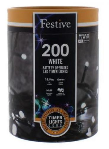 Battery Lights with Timer – 200 LED – Cold White