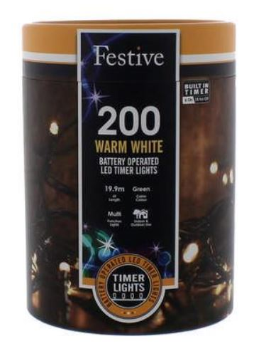 Battery Lights with Timer – 200 LED – Warm White