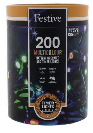 Battery Lights with Timer – 200 LED – Multicoloured