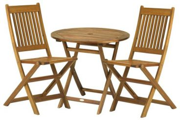 York Folding Bistro Set 2 Chairs 1 Table