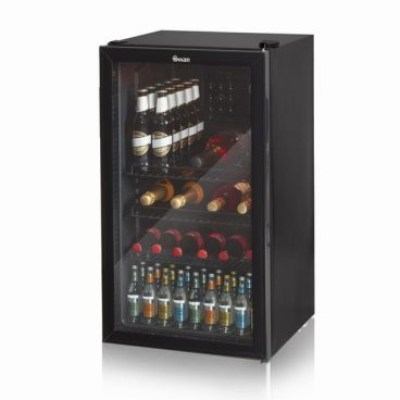 80L Glass Fronted Under Counter Fridge Black