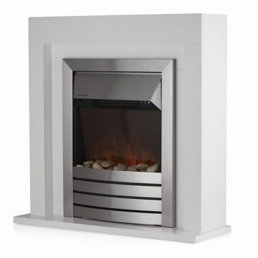 Chester 2KW Fireplace Suite with Timer and Remote Control in Whi