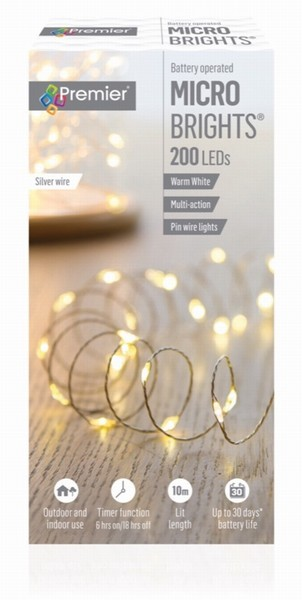 BATTERY MICROBRIGHTS WARM 200 LED 10M