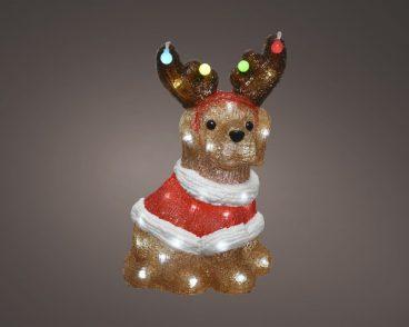 ACRYLIC LED CHRISTMAS DOG 33.5CM