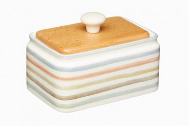 Classic Collection Striped Ceramic Butter Dish with Lid