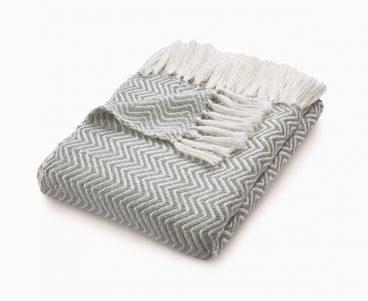 Herringbone Throw – Sky Grey