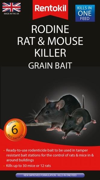 Rentokil Rodine Rat & Mouse Killer Grain Bait 6 Sachet