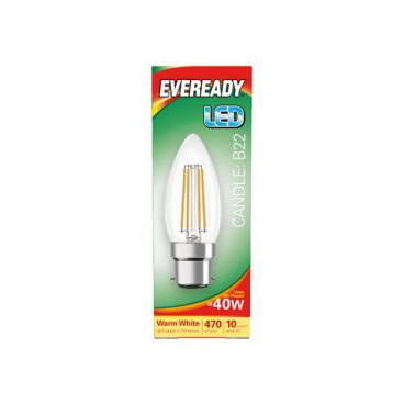 BULB LED CANDLE 4W (40W) BC CLEAR WARM EVEREADY