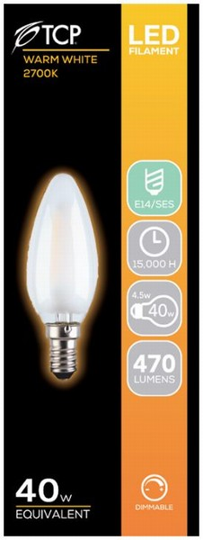 BULB LED CANDLE 4.5W (40W) SBC OPAL WARM DIMMABLE TCP