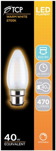 BULB LED CANDLE 4.5W (40W) BC OPAL WARM DIMMABLE TCP