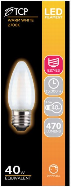 BULB LED CANDLE 4.5W (40W) ES OPAL WARM DIMMABLE TCP