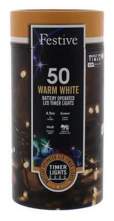 Battery Lights with Timer – 50 LED – Warm White