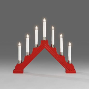 Konstsmide – Candle Arch Silver Ring Red – 7 LED