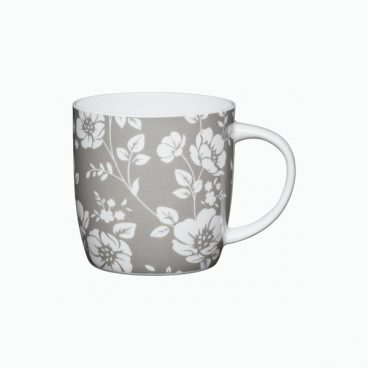 BONE CHINA BARREL MUG GREY FLORAL