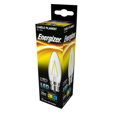 BULB LED CANDLE 2.4W (25W) BC CLEAR WARM ENERGIZER