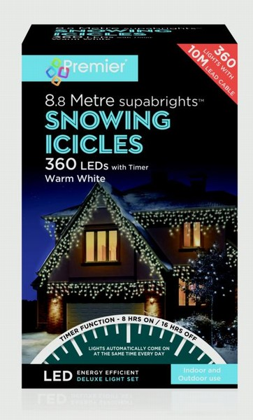 ICICLES LIGHTS LED SNOWING 360 WARM 8.8M