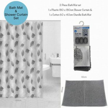 BATH MAT & CURTAIN SET GREY
