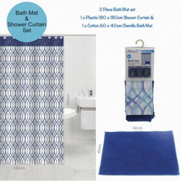 BATH MAT & CURTAIN SET BLUE