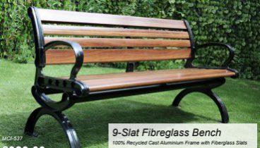 MERCER FIBREGLASS BENCH 9 SLAT